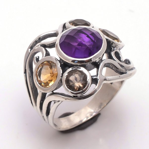 Amethyst Citrine Gemstone 925 Sterling Silver Ring
