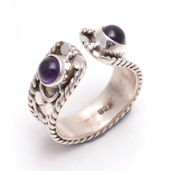Amethyst Gemstone 925 Sterling Silver Ring Size 7 Adjustable