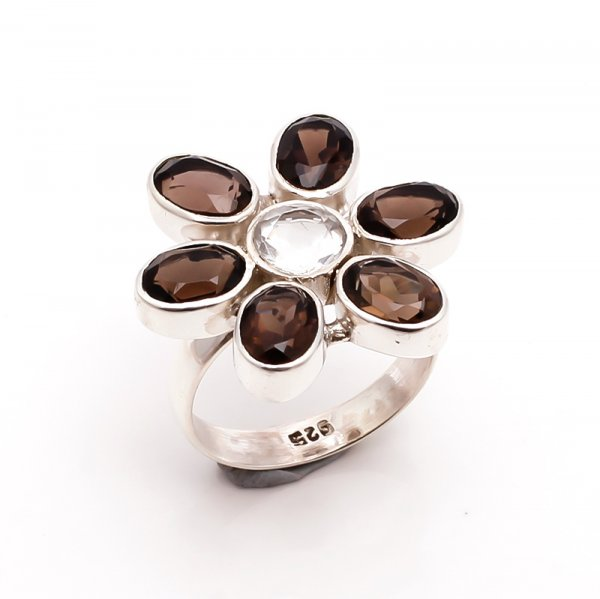 Smoky Crystal Gemstone 925 Sterling Silver Ring Size 7