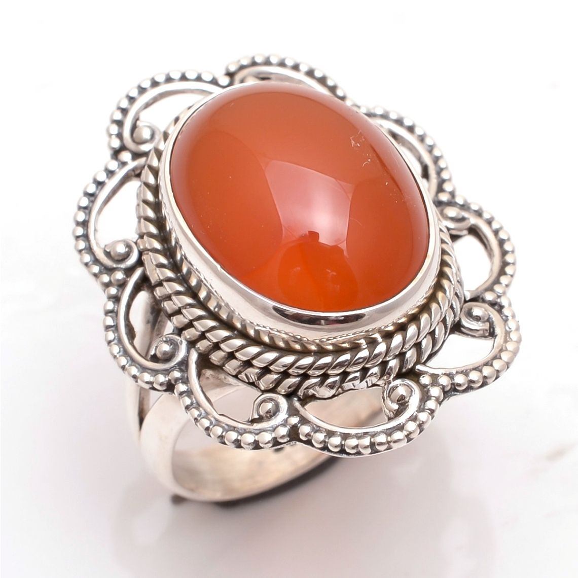 Carnelian Gemstone 925 Sterling Silver Ring Size 7