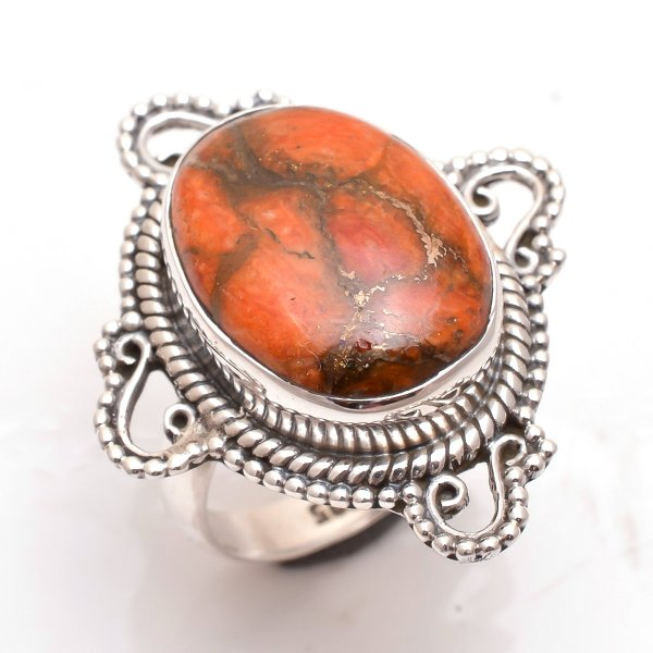 Orange Copper Turquoise Gemstone 925 Sterling Silver Ring Size 5.5