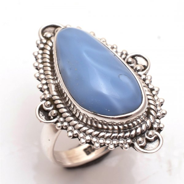 Owyhee Blue Opal Gemstone 925 Sterling Silver Ring Size 6.5
