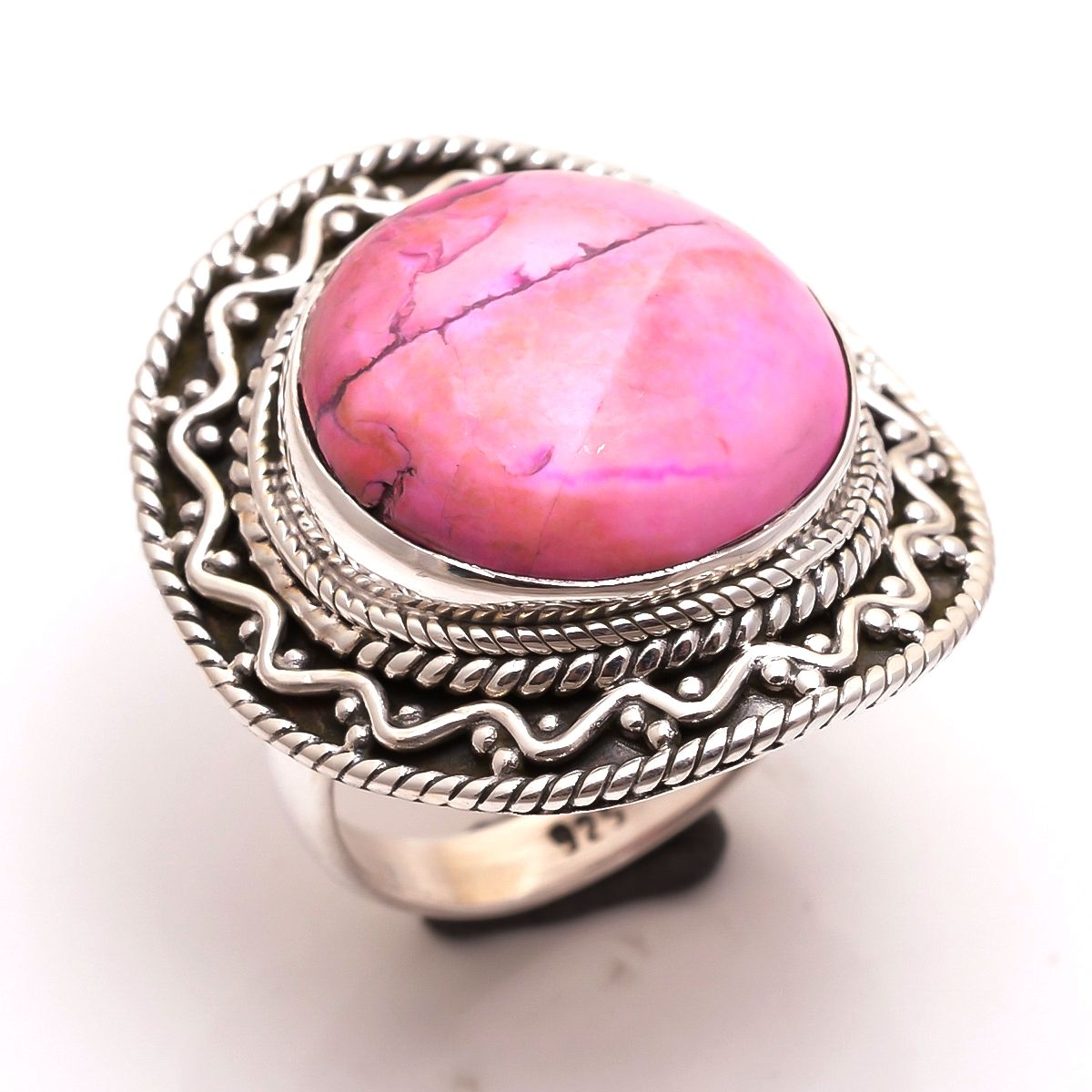 Howlite Gemstone 925 Sterling Silver Ring Size 7.5