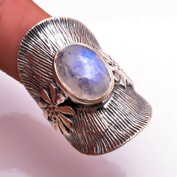 Rainbow Moonstone  925 Sterling Silver Ring Size 7