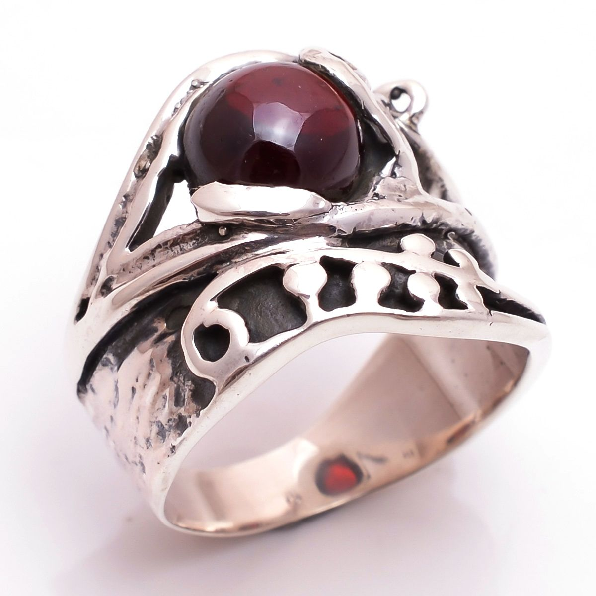 Garnet Gemstone 925 Sterling Silver Ring Size 6.5