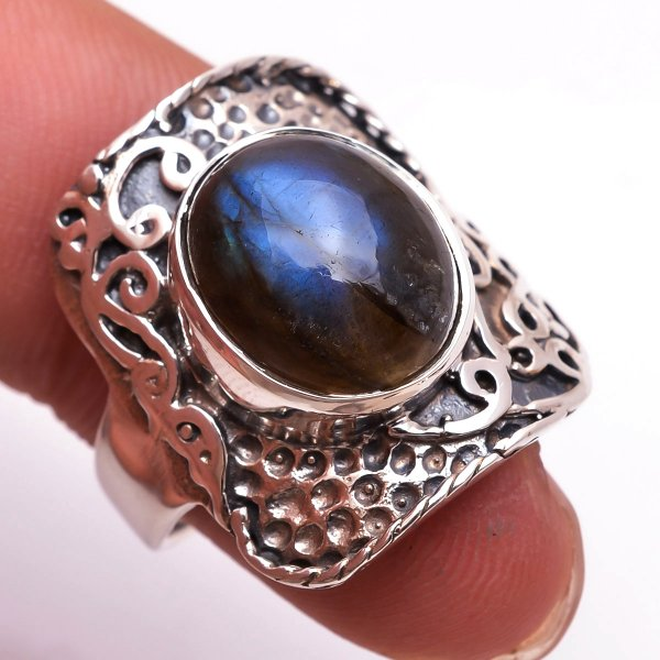 Labradorite Gemstone 925 Sterling Silver Ring Size 6