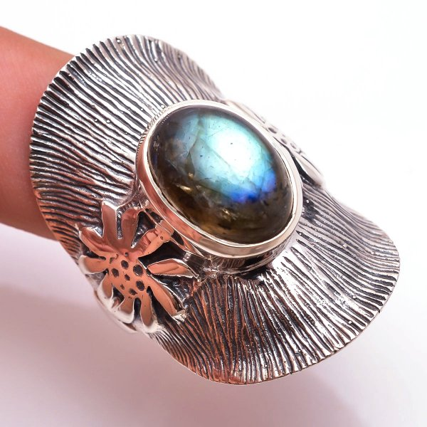 Labradorite Gemstone 925 Sterling Silver Ring Size 8.5