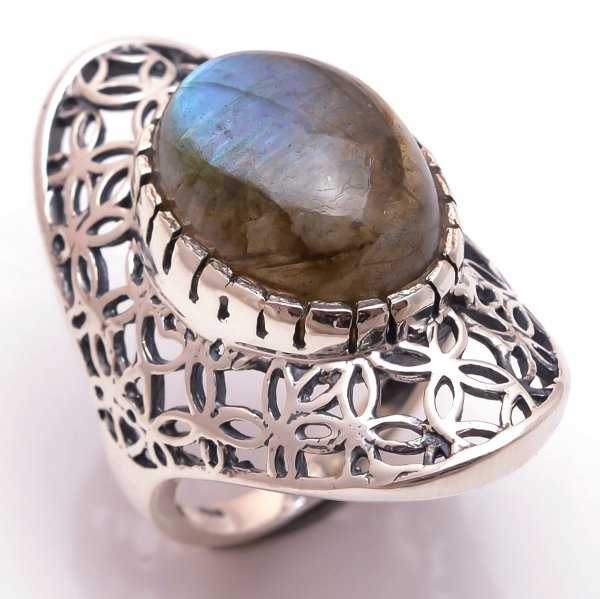 Labradorite Gemstone 925 Sterling Silver Ring Size 7