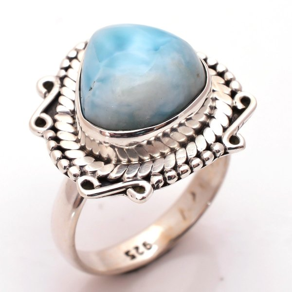 Larimar Gemstone 925 Sterling Silver Ring Size 7
