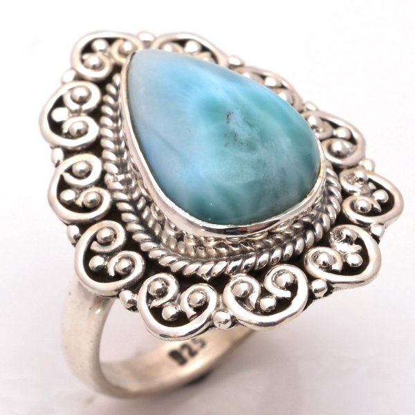 Larimar Gemstone 925 Sterling Silver Ring Size 6.5