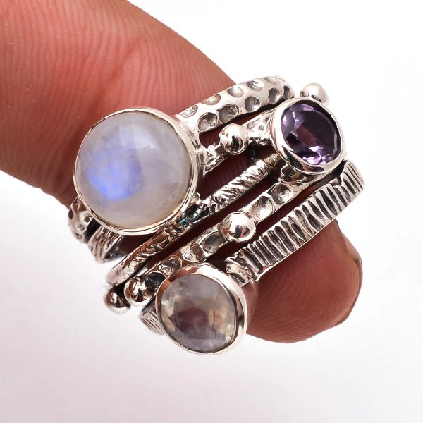 Rainbow Moonstone Amethyst Gemstone 925 Sterling Silver Ring Size 6.5