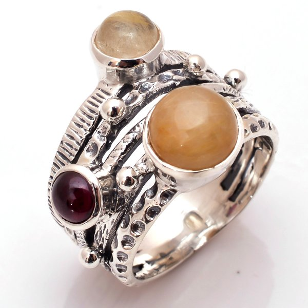 Golden Rutile Garnet Gemstone 925 Sterling Silver Ring