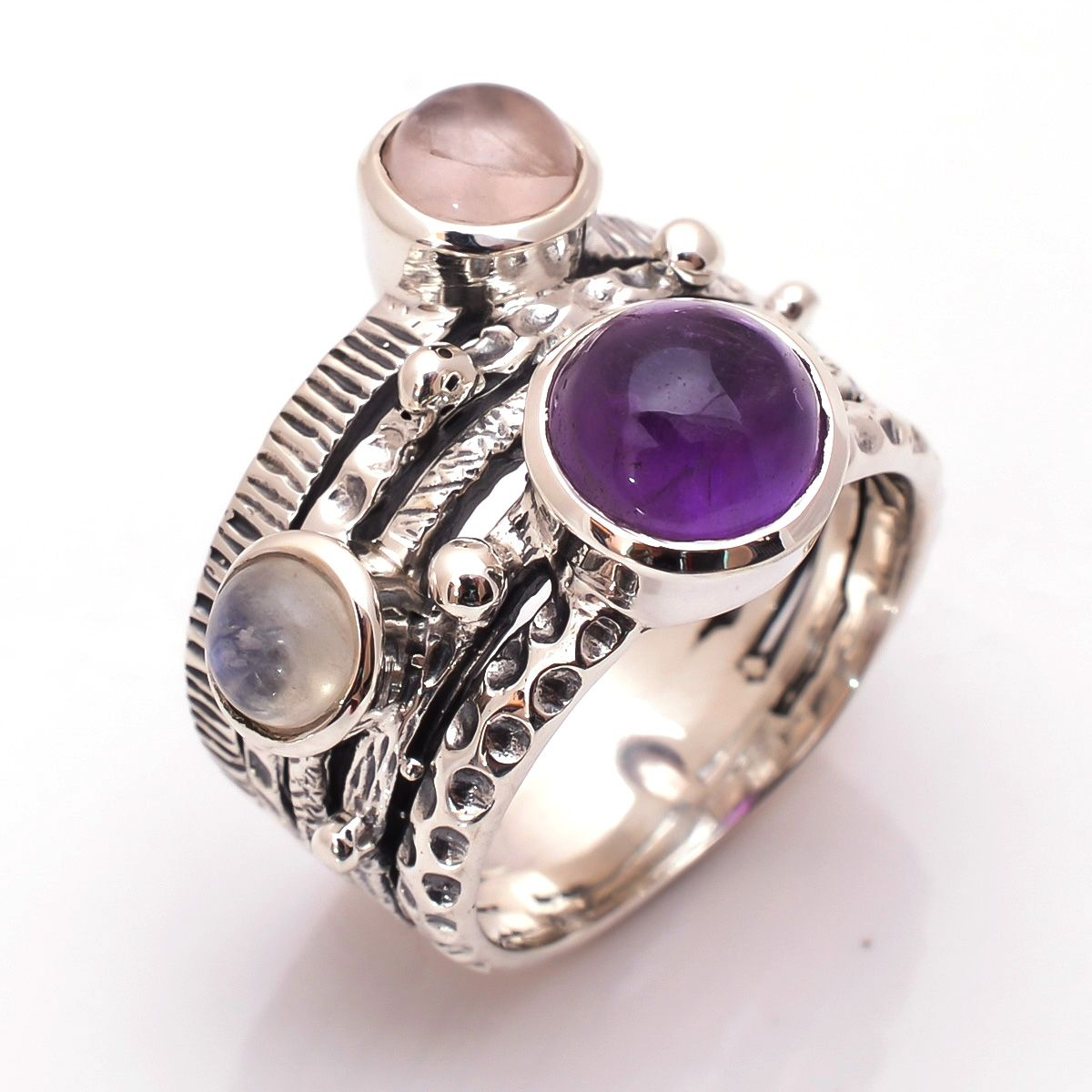 Amethyst Rose Quartz Rainbow Moonstone 925 Sterling Silver Ring Size 8