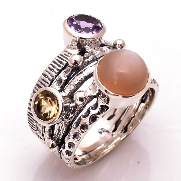 Moonstone Amethyst Citrine Gemstone 925 Sterling Silver Ring Size 7.5