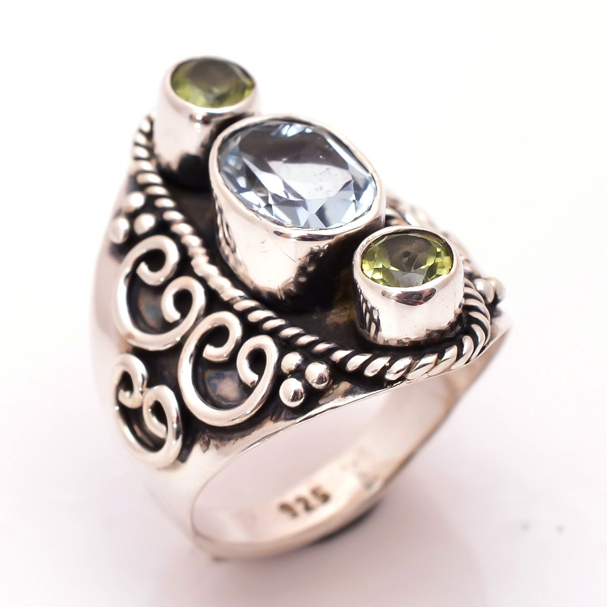Blue Topaz Peridot Gemstone 925 Sterling Silver Ring