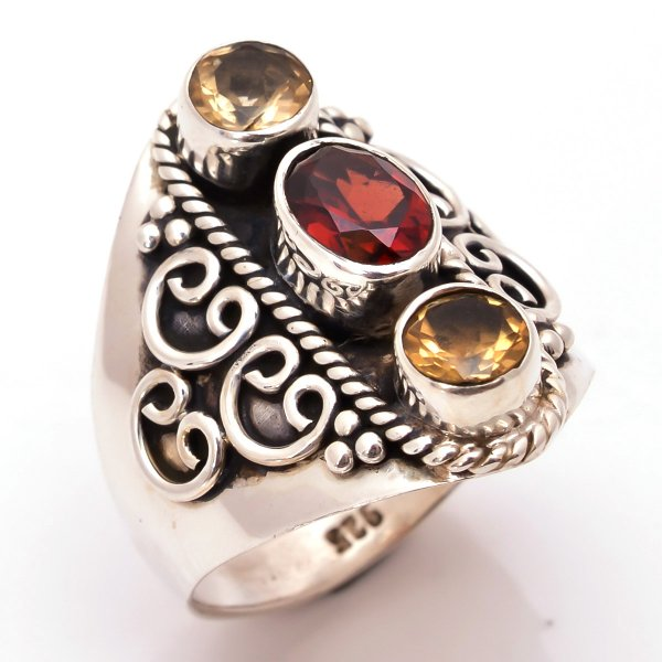 Garnet Citrine Gemstone 925 Sterling Silver Ring