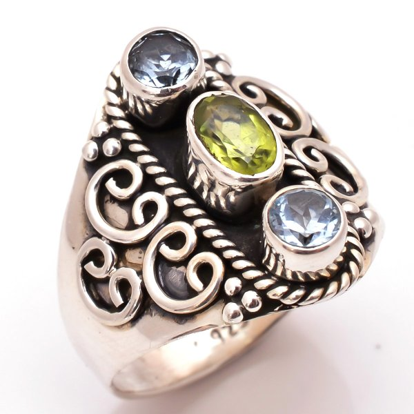Peridot Blue Topaz Gemstone 925 Sterling Silver Ring Size 7.5