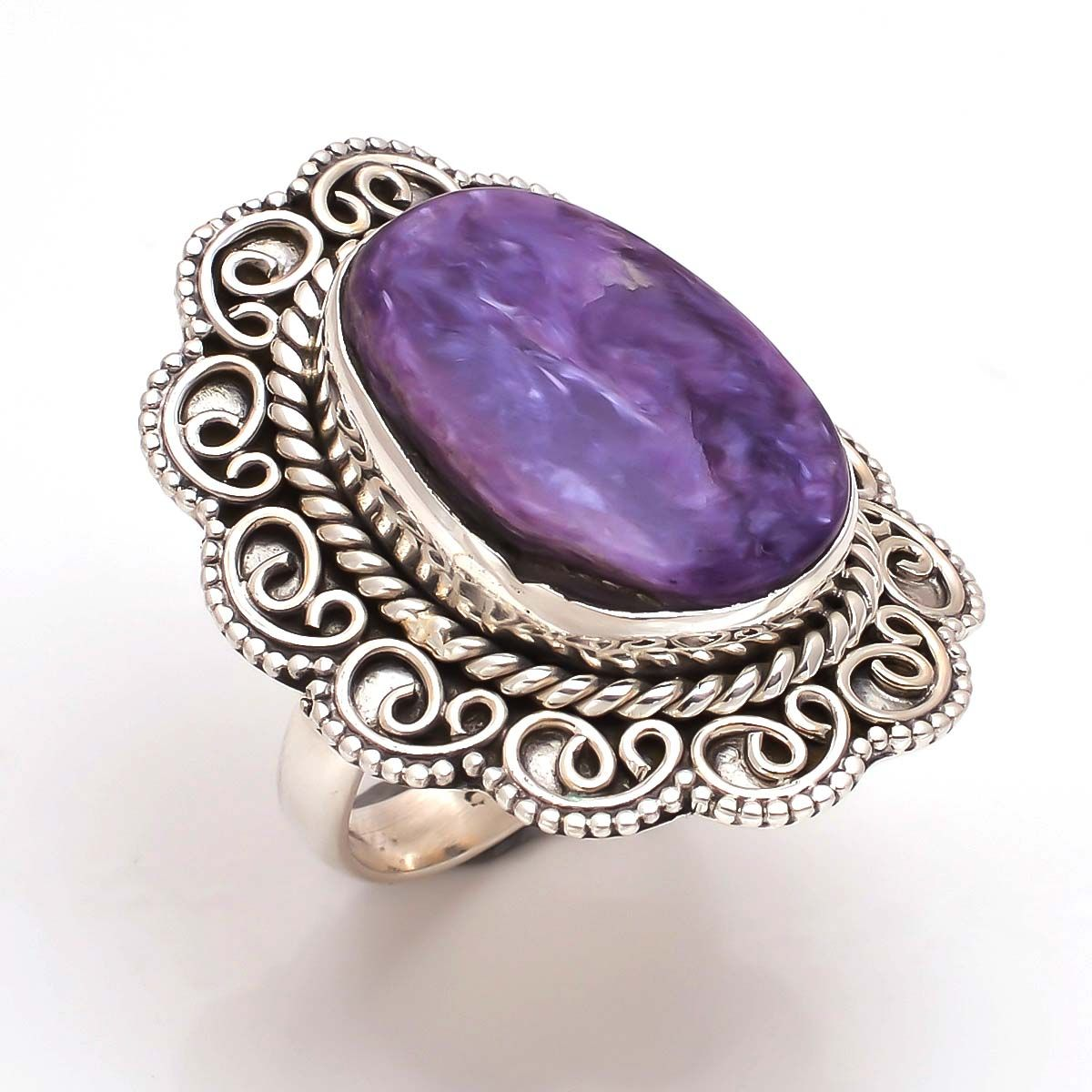Charoite Gemstone 925 Sterling Silver Ring Size 8