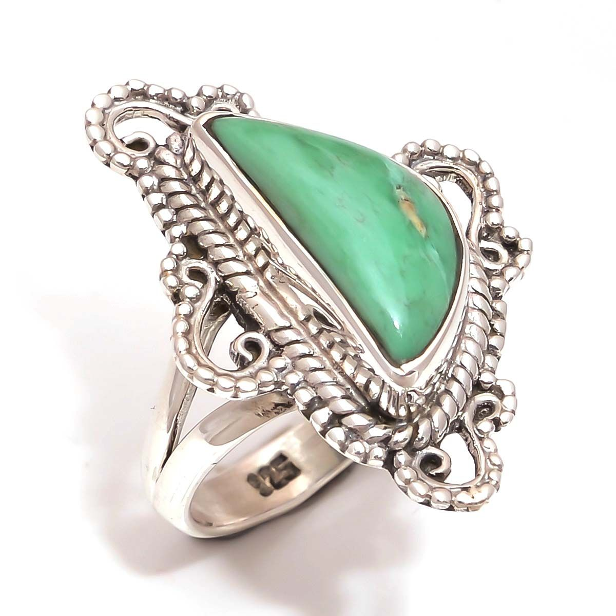 Variscite Gemstone 925 Sterling Silver Ring Size 7