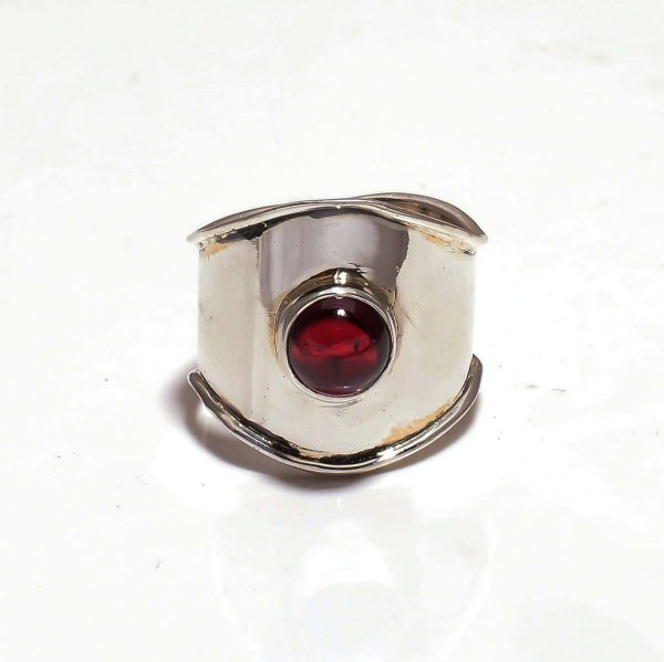 Garnet Gemstone 925 Sterling Silver Ring Size 7.5