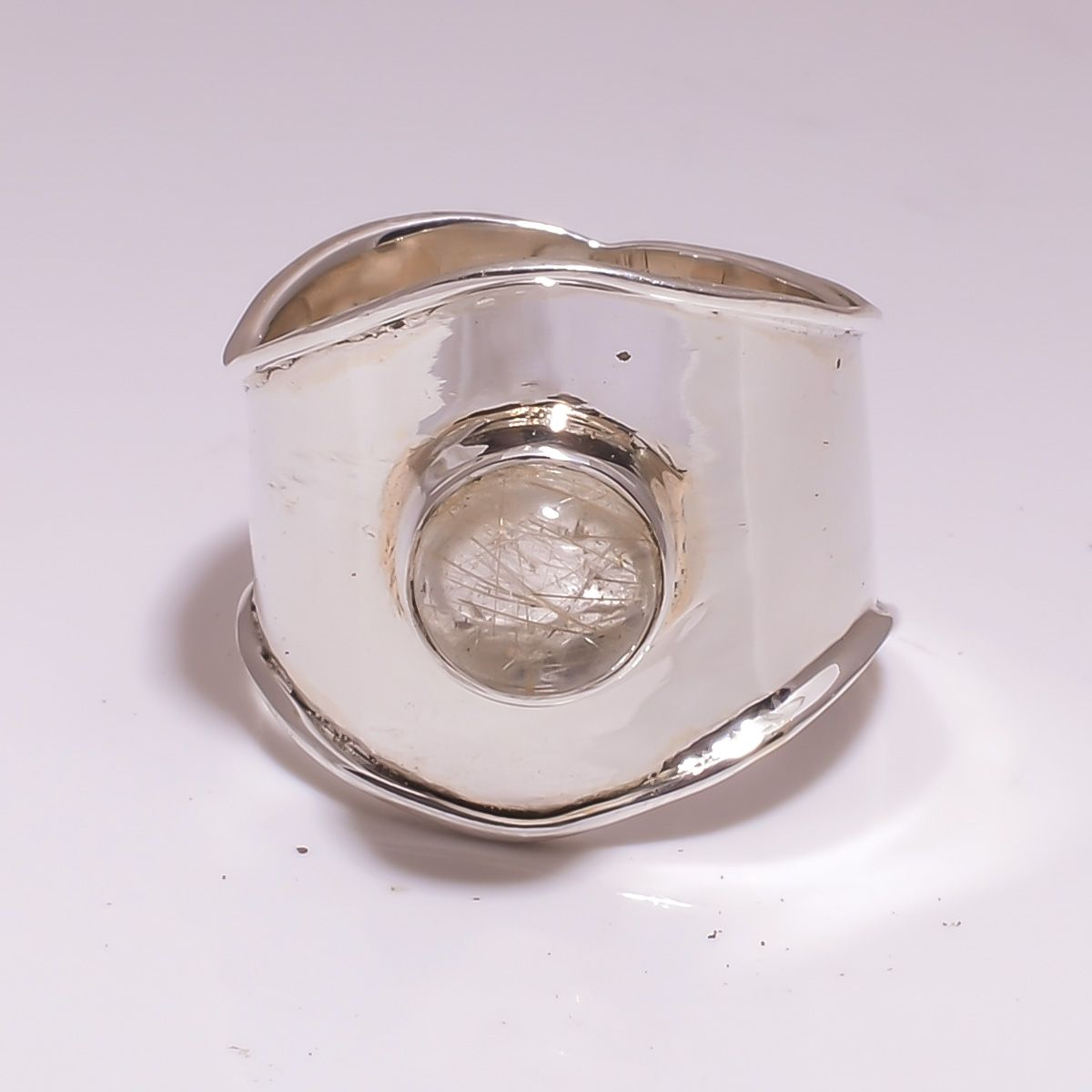 Golden Rutile Gemstone 925 Sterling Silver Ring Size 7.5