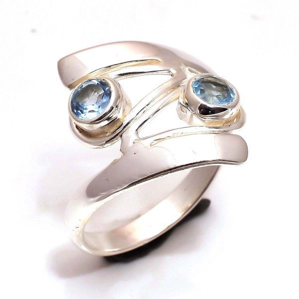 Blue Topaz Gemstone 925 Sterling Silver Ring Size 7.5