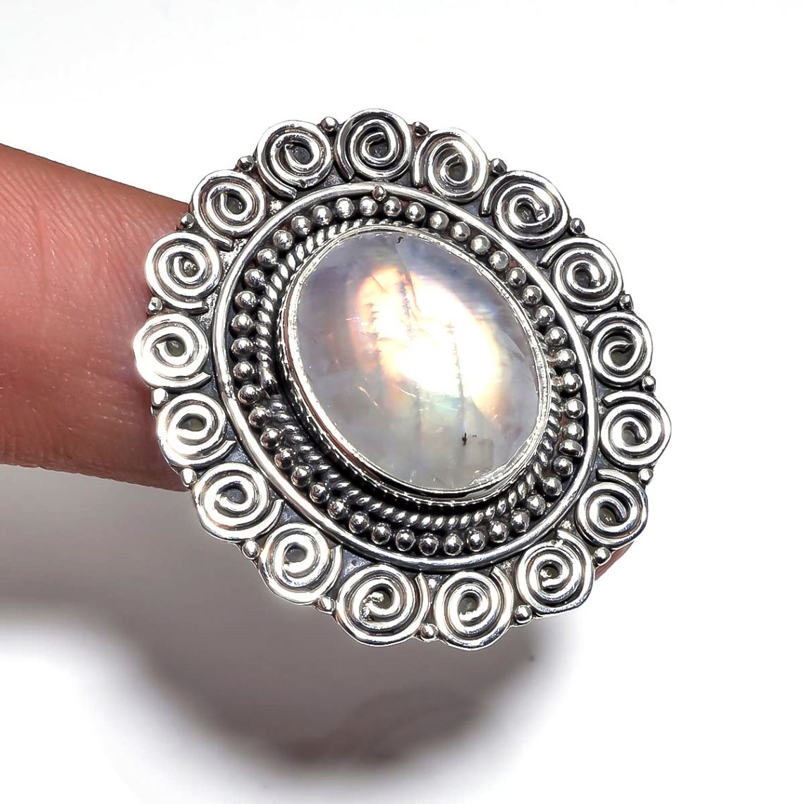 Rainbow Moonstone 925 Sterling Silver Ring Size 6.75