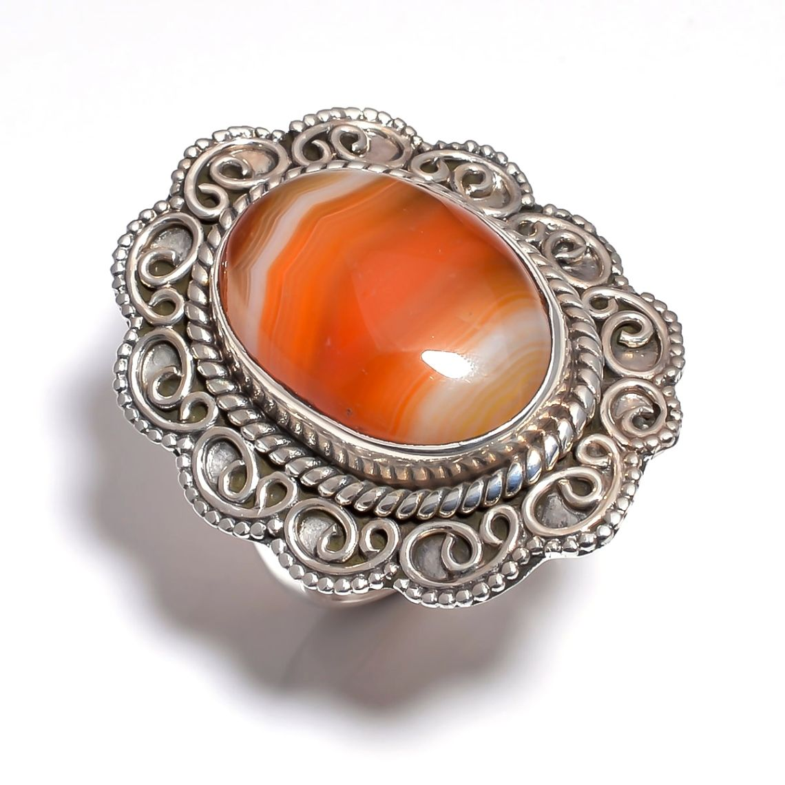 Orange Botswana Agate Gemstone 925 Sterling Silver Ring Size 8