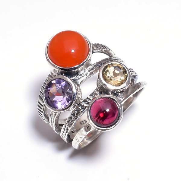 Carnelian Garnet Gemstone 925 Sterling Silver Stackable Ring