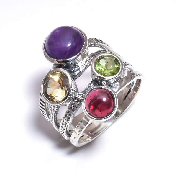Amethyst Citrine Gemstone 925 Sterling Silver Stackable Ring Size 7.25