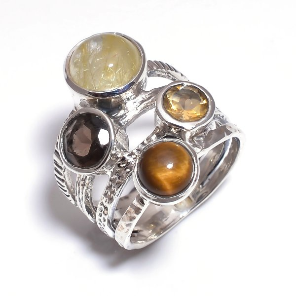 Golden Rutile Citine Gemstone 925 Sterling Silver Stackable Ring Size 5.75