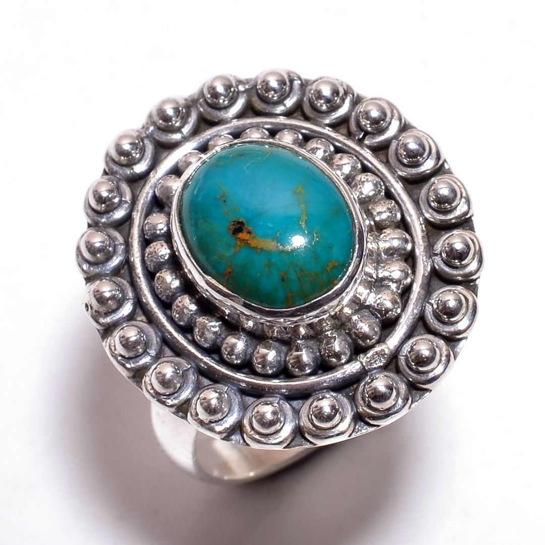 Turquoise Gemstone 925 Sterling Silver Ring Size 7