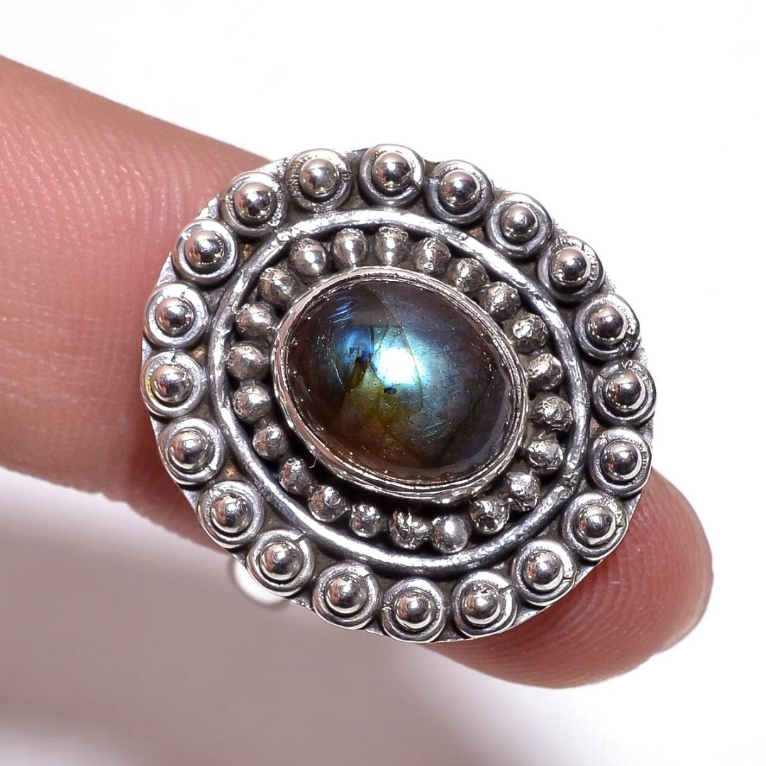 Labradorite Gemstone 925 Sterling Silver Ring Size 6.25