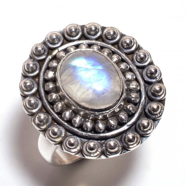 Rainbow Moonstone 925 Sterling Silver Ring Size 6