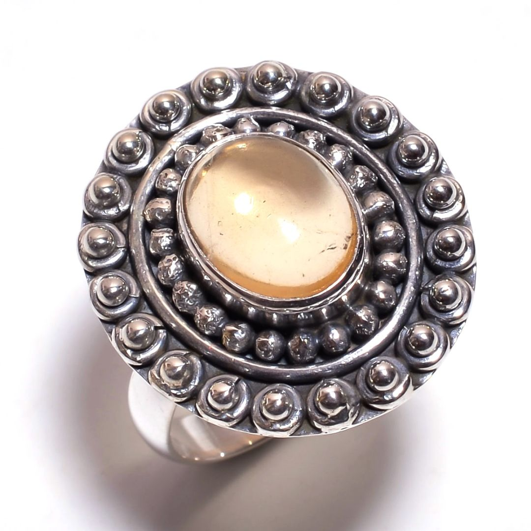 Amber Gemstone 925 Sterling Silver Ring