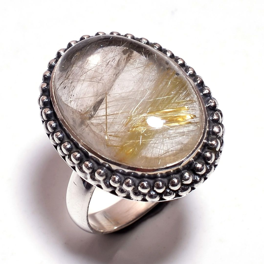 Golden Rutile Gemstone 925 Sterling Silver Ring Size 8.25