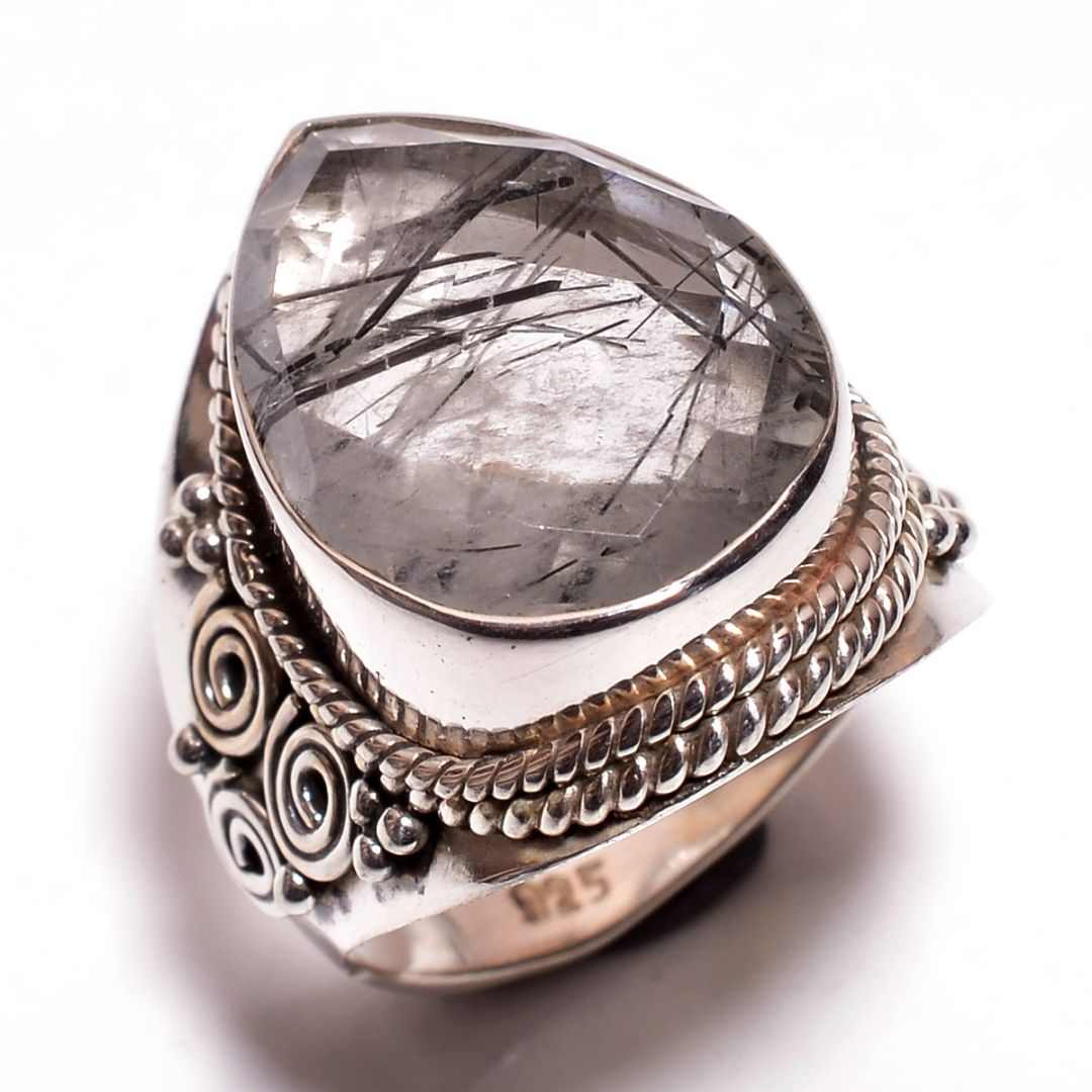 Rutile Gemstone 925 Sterling Silver Ring Size 7