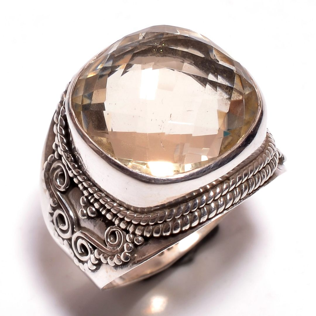 Citrine Gemstone 925 Sterling Silver Ring Size 7.5