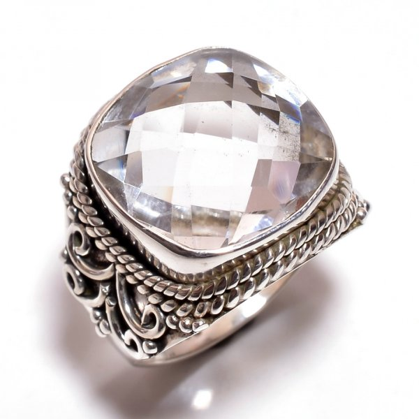 Crystal Gemstone 925 Sterling Silver Ring Size 7.5