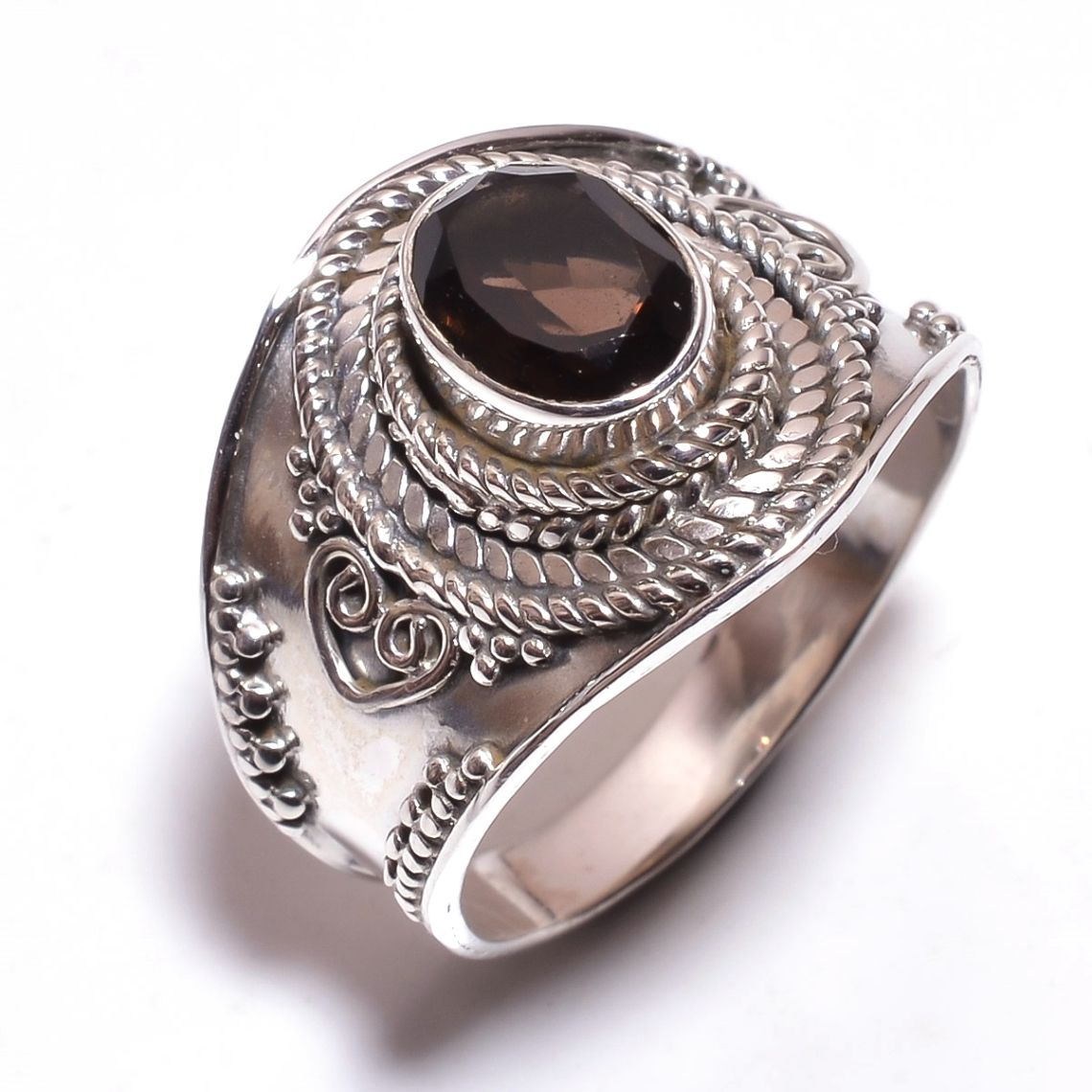 Smoky Gemstone 925 Sterling Silver Ring Size 8.5