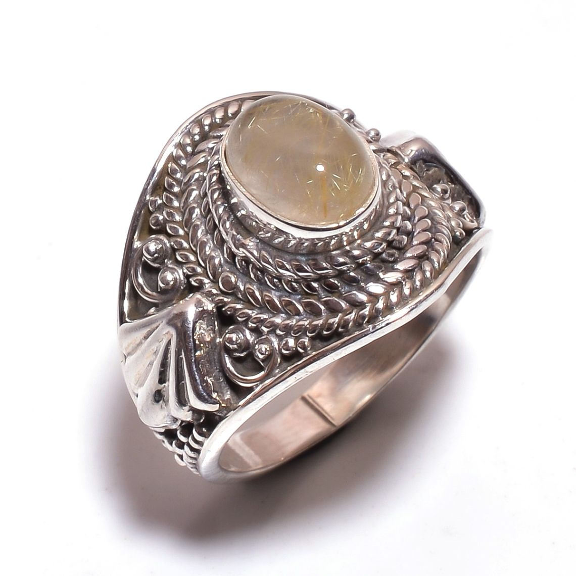 Golden Rutile Gemstone 925 Sterling Silver Ring Size 6.5