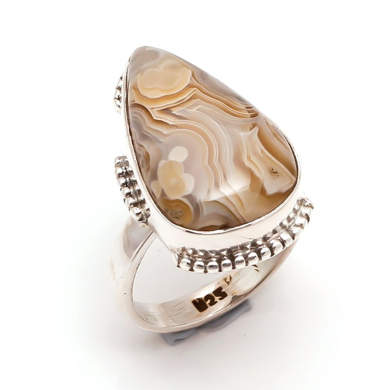 Botswana Agate Gemstone 925 Sterling Silver Ring Size 6.5