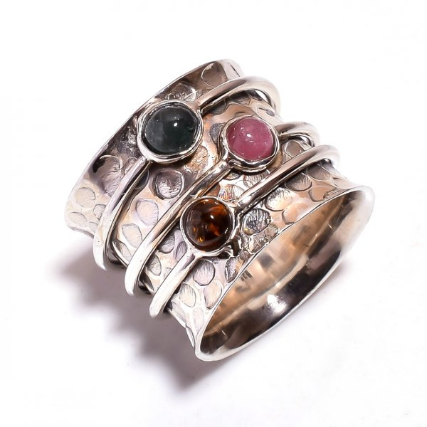 Tourmaline Gemstone 925 Sterling Silver Meditation Ring Size 7
