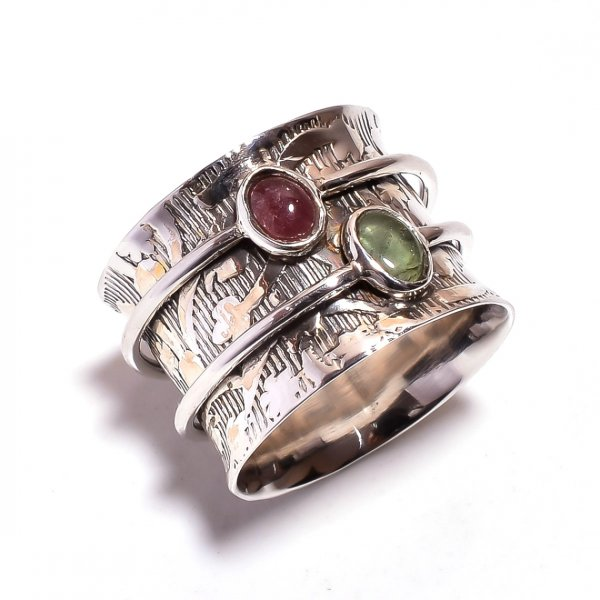 Tourmaline Gemstone 925 Sterling Silver Meditation Ring Size 8.25