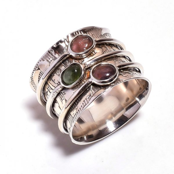 Tourmaline Gemstone 925 Sterling Silver Meditation Ring Size 8.5