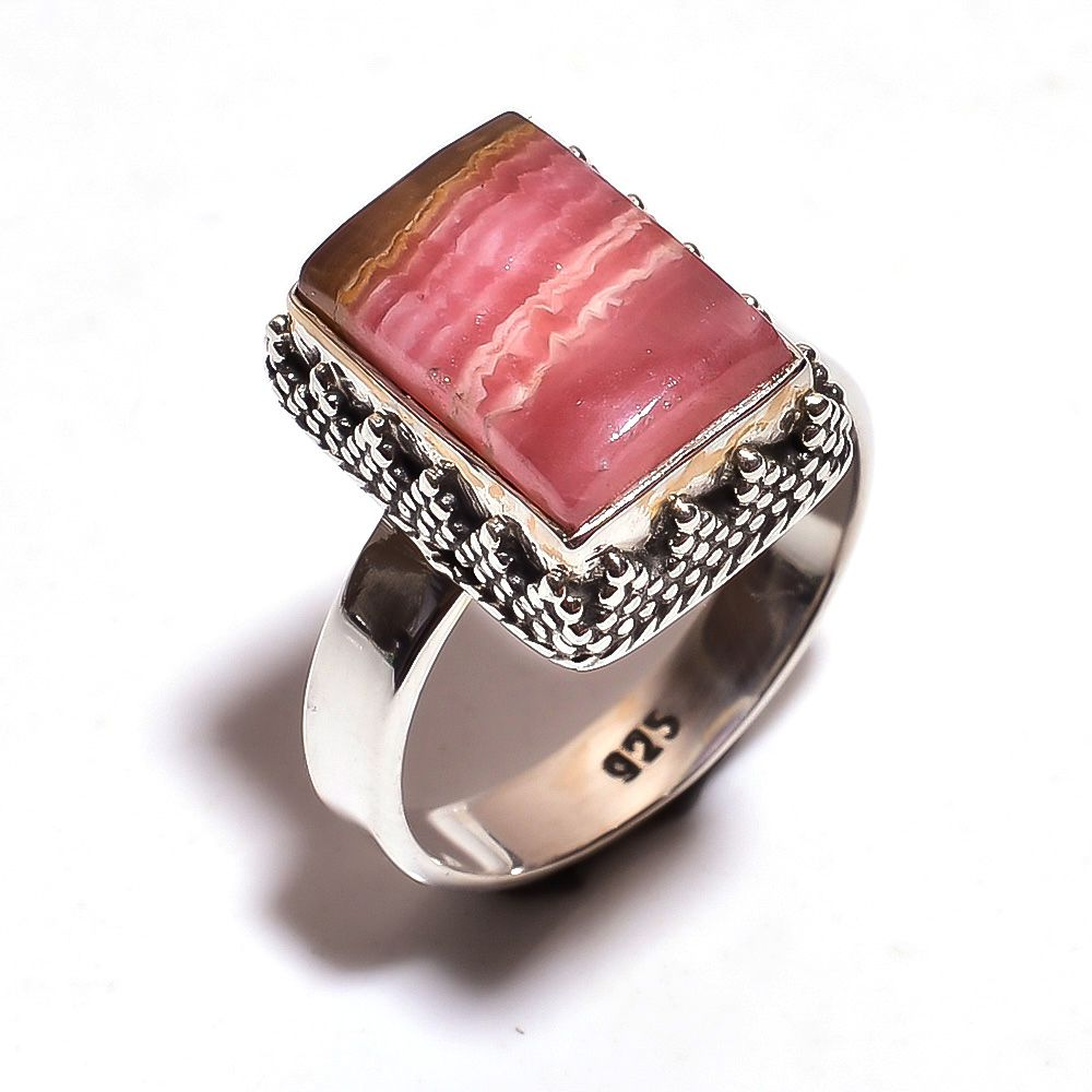 Rhodochrosite Gemstone 925 Sterling Silver Ring Size 8.5