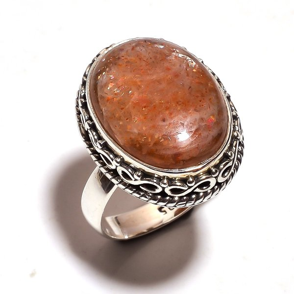 Sunstone Gemstone 925 Sterling Silver Ring Size US 7