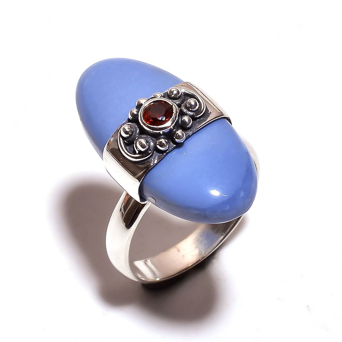 Owyhee Blue Opal Garnet Gemstone 925 Sterling Silver Ring Size 6