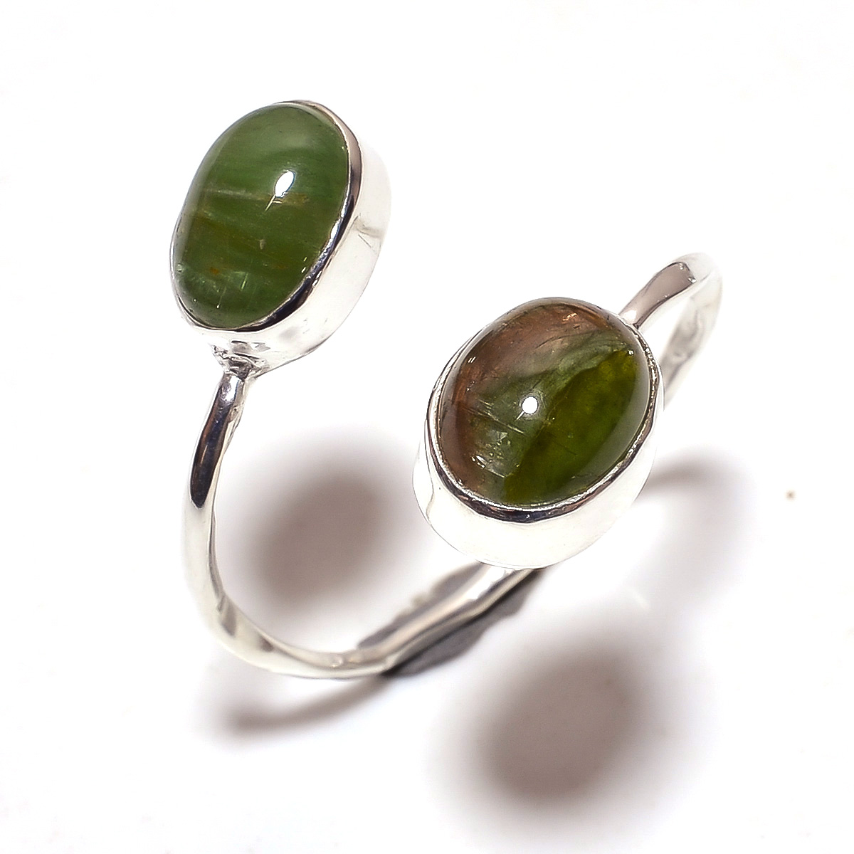 Multi Tourmaline Gemstone 925 Sterling Silver Ring Size 9.75 Adjustable