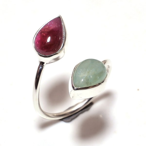 Multi Tourmaline Gemstone 925 Sterling Silver Ring Size 6.5 Adjustable